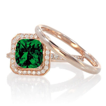 1.5 Carat Bestselling Princess Halo Bridal Set with Emerald and Diamond on Rose Gold