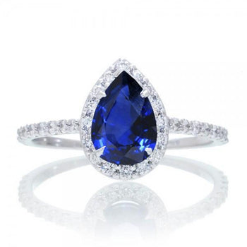 1.50 Carat Classic Pear Cut Sapphire With Diamond Celebrity Engagement Ring