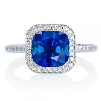 1.50 Carat Cushion Cut Classic Sapphire and Diamond Halo Multistone Engagement Ring