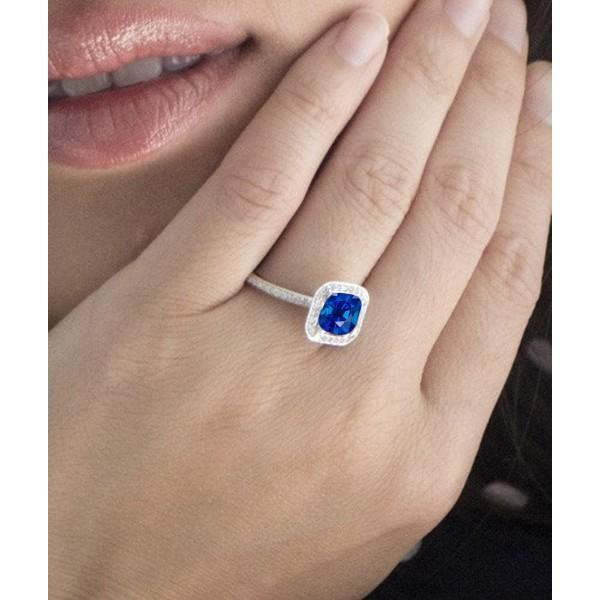1 50 Carat Cushion Cut Classic Sapphire And Diamond Halo Multistone Engagement Ring