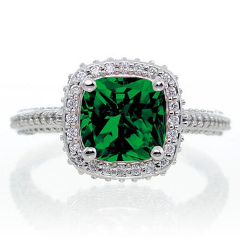 1.5 Carat Cushion Cut Designer Emerald and Diamond Halo Engagement Ring
