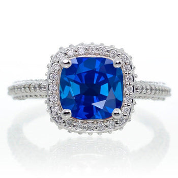 1.50 Carat Cushion Cut Designer Sapphire and Diamond Halo Engagement Ring