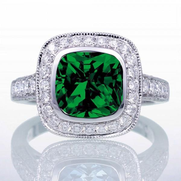 1.5 Carat Cushion Cut Emerald and Diamond Halo Vintage Engagement Ring