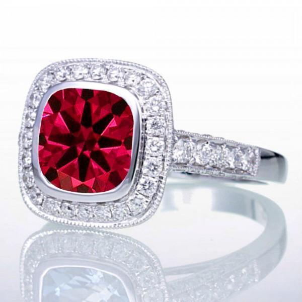 1.5 Carat Cushion Cut Ruby and Diamond Halo Vintage Engagement Ring