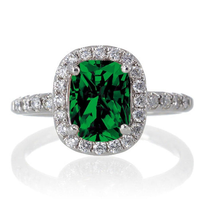 1.5 Carat Cushion Cut Emerald Antique Diamond Engagement Ring