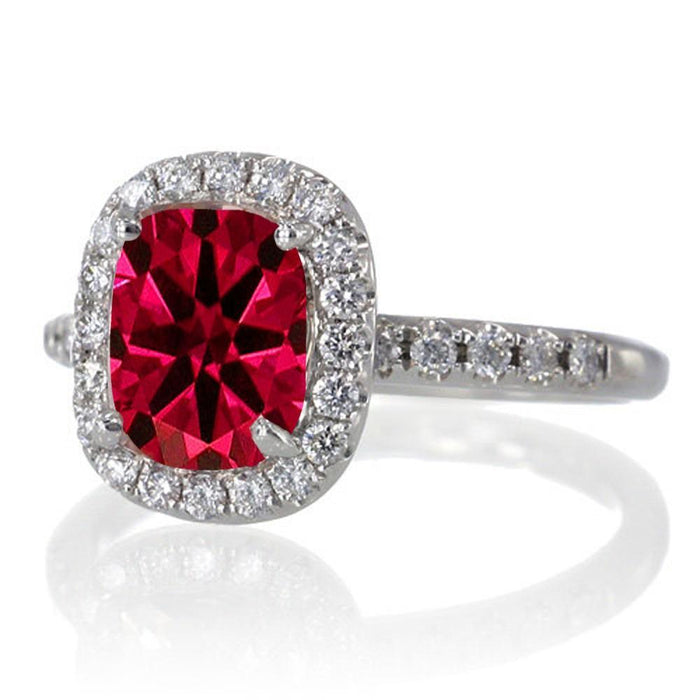 1.5 Carat Cushion Cut Ruby Antique Diamond Engagement Ring