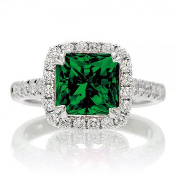 1.5 Carat Cushion Cut Emerald Halo Engagement Ring