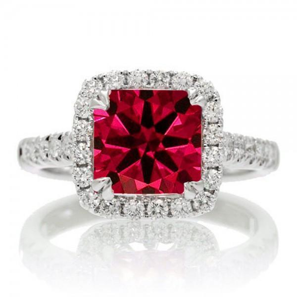 1.5 Carat Cushion Cut Ruby Halo Engagement Ring