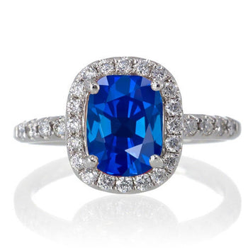 1.50 Carat Cushion Cut Sapphire Antique Diamond Engagement Ring