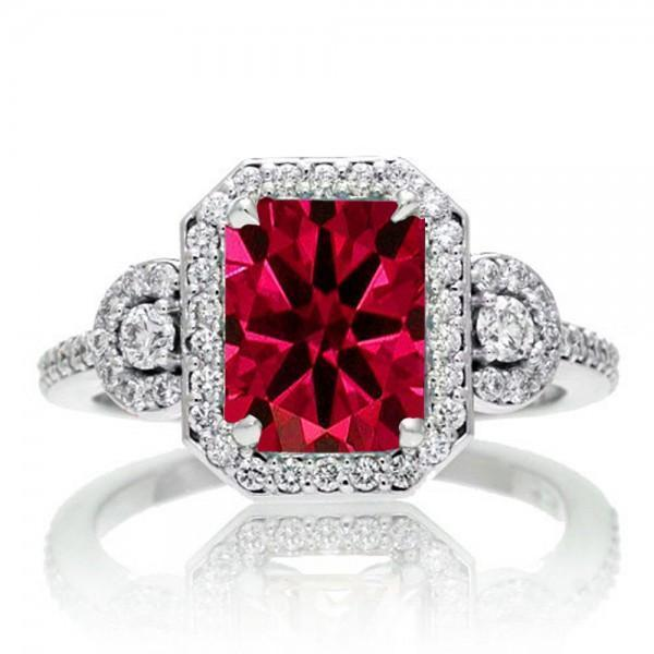1.5 Carat Emerald Cut Three Stone Ruby Halo Diamond Ring