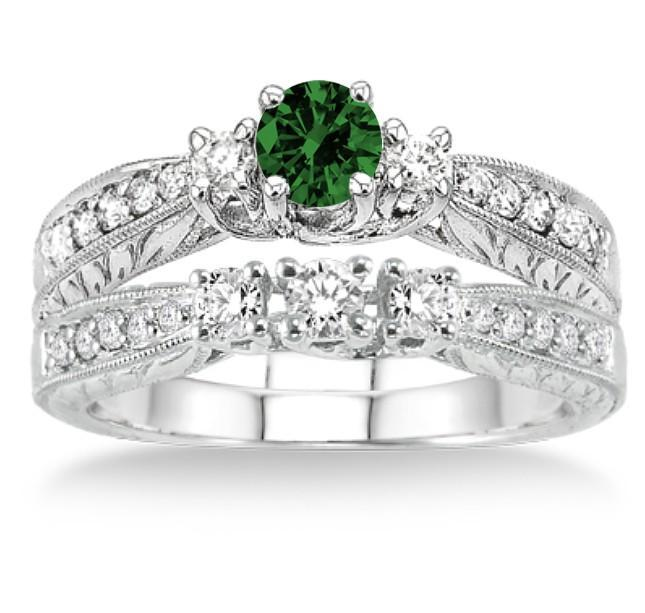 1.5 Carat Emerald & Diamond Antique Bridal set on White Gold