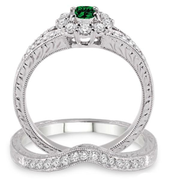 1.5 Carat Emerald & Diamond Antique Floral Bridal set on White Gold