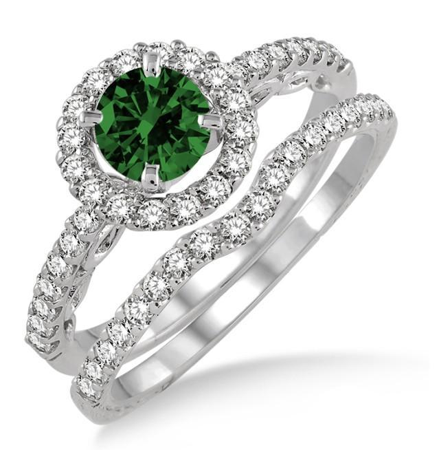 1.5 Carat Emerald & Diamond Antique Floral Halo Bridal set on White Gold