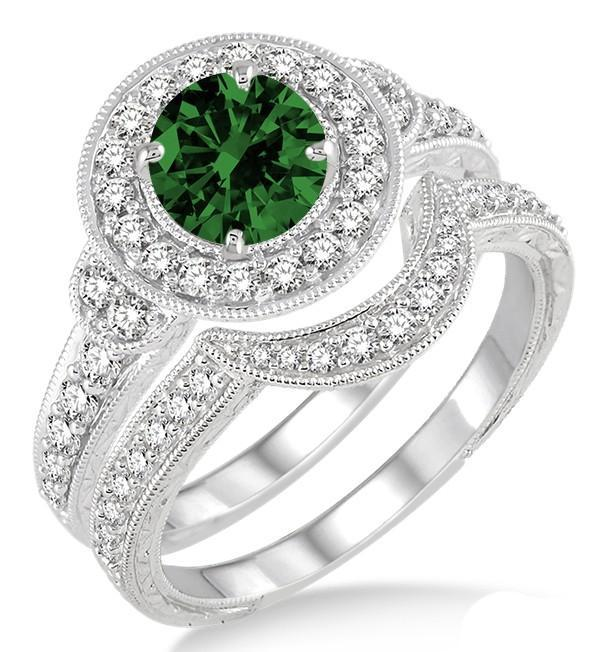1.5 Carat Emerald & Diamond Antique Halo Bridal Set Engagement Ring on White Gold