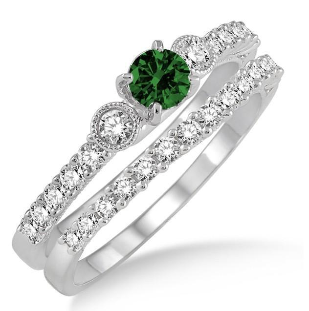 1.5 Carat Emerald & Diamond Antique Three Stone Bridal Set on 9k White Gold