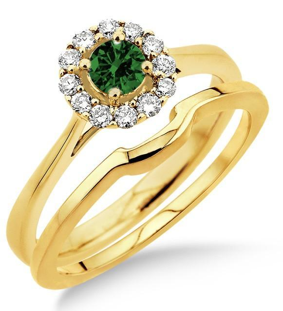 1.25 Carat Emerald & Diamond Bridal set Halo on Yellow Gold