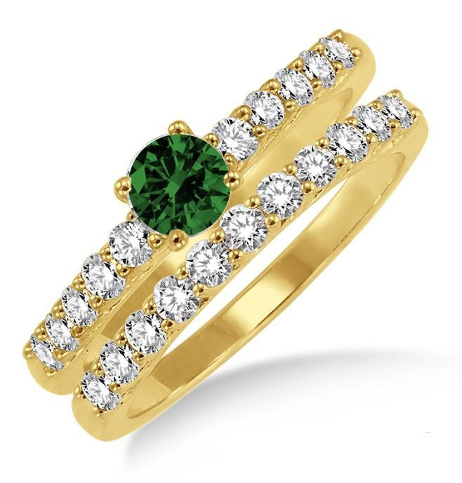 1.5 Carat Emerald & Diamond Elegant Bridal Set on Yellow Gold