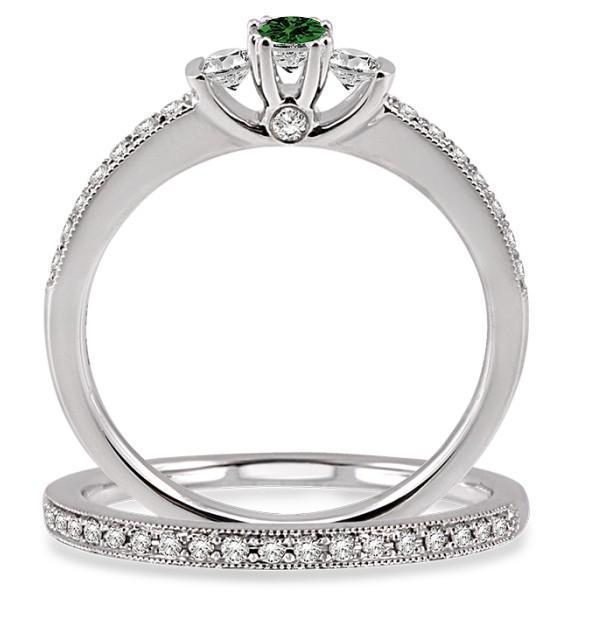 1.5 Carat Emerald & Diamond Three Stone Bridal Set on 9k White Gold
