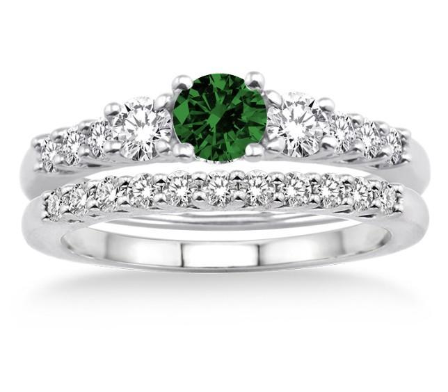 1.5 Carat Emerald & Diamond Trilogy Bridal set on White Gold