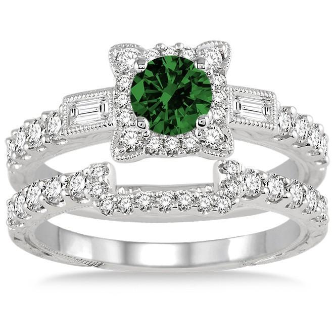 1.5 Carat Emerald & Diamond Vintage floral Bridal Set Engagement Ring on 9k White Gold