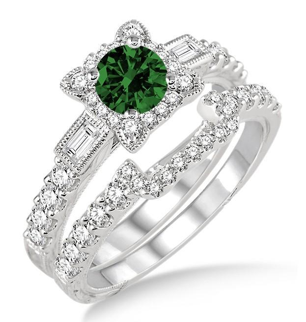 1.5 Carat Emerald & Diamond Vintage floral Bridal Set Engagement Ring on White Gold