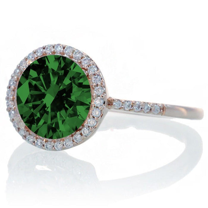 2.5 Carat Huge Emerald and Diamond Halo Classic Engagement Ring