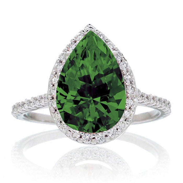 2.5 Carat Pear Cut Emerald Halo Designer Engagement for Woman