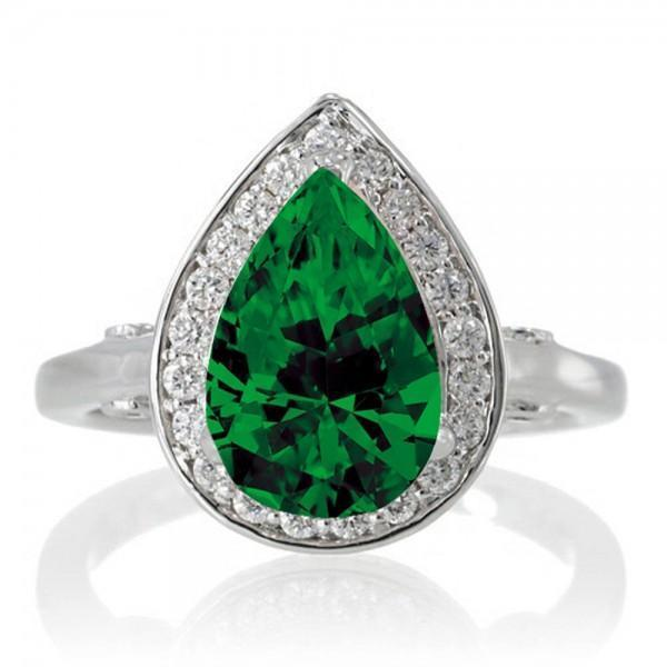 1.5 Carat Pear Cut Halo Emerald Engagement Ring