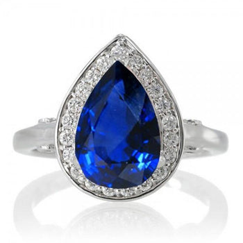 1.5 Carat Pear Cut Halo Sapphire Engagement Ring