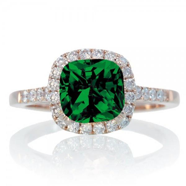 1.5 Carat Perfect Cushion Emerald and Diamond Engagement Ring