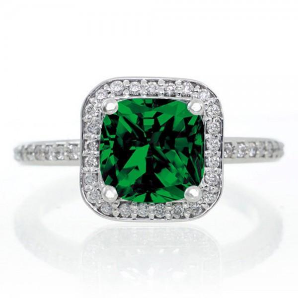 1.5 Carat Princess Cut Emerald Classic Halo Engagement Ring