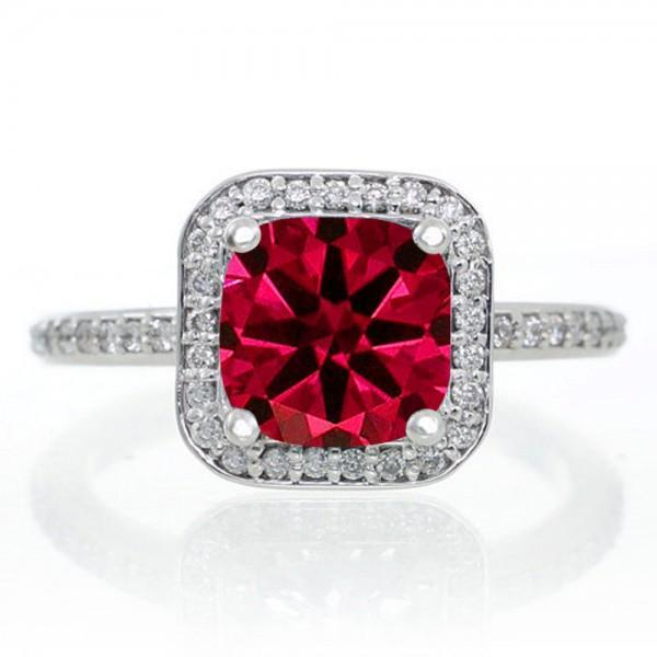 1.5 Carat Princess Cut Ruby Classic Halo Engagement Ring