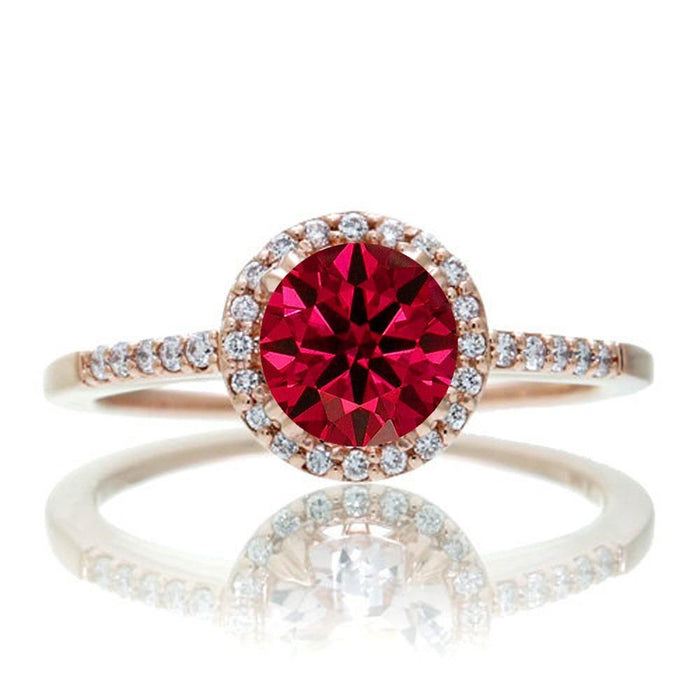 1.5 Carat Round Classic Ruby and Diamond Vintage Engagement Ring