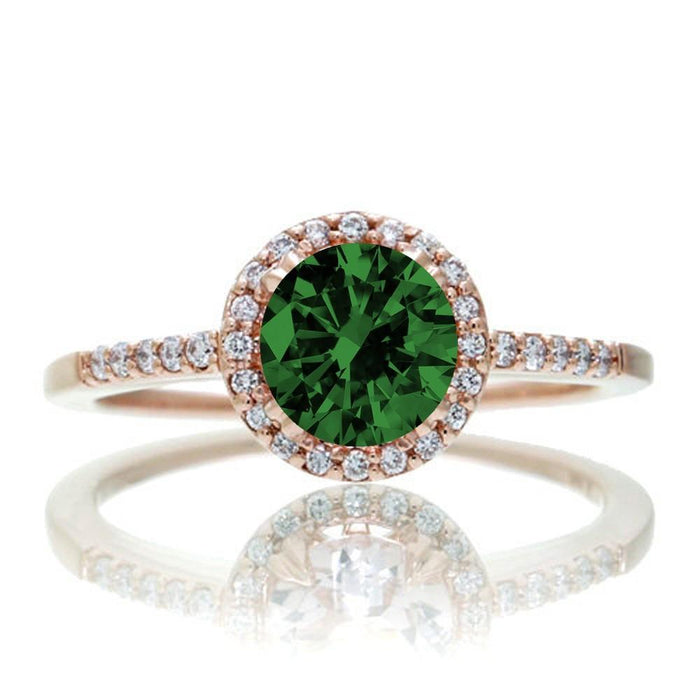 1.5 Carat Round Classic Emerald and Diamond Vintage Engagement Ring