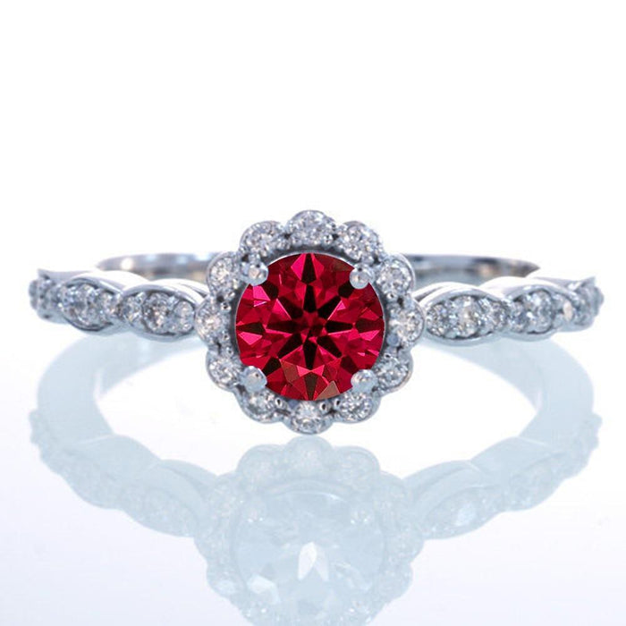 1.5 Carat Round Cut Ruby and Diamond Flower Vintage Designer Engagement Ring