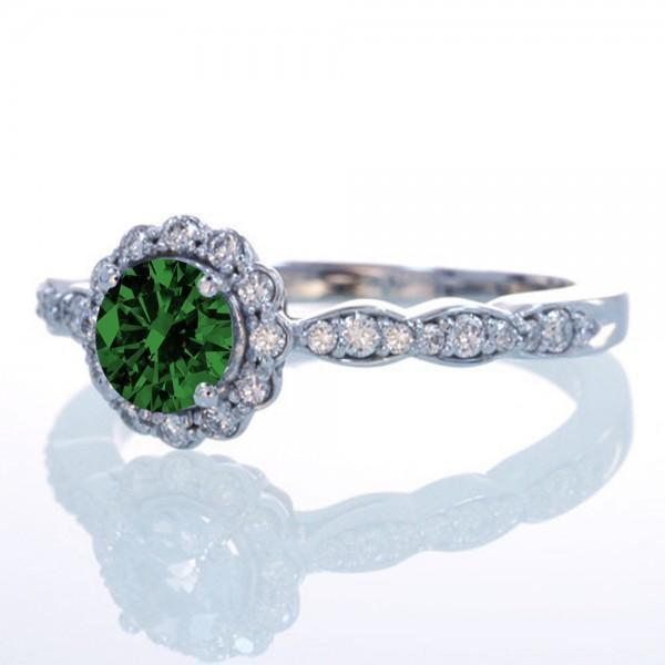 1.5 Carat Round Cut Emerald and Diamond Flower Vintage Designer Engagement Ring
