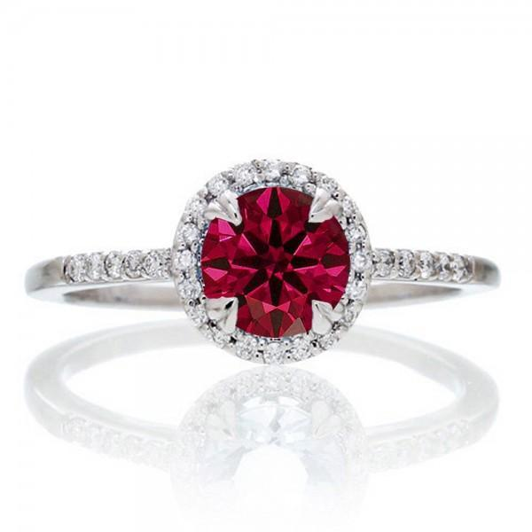 1.5 Carat Round Cut Ruby Halo Classic Diamond Engagement Ring