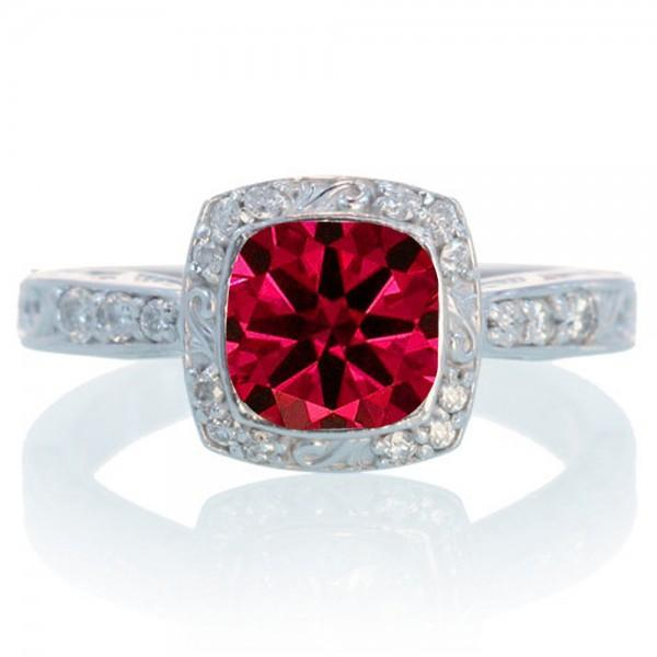 1.5 Carat Round Vintage Ruby and Diamond Halo Wedding Ring