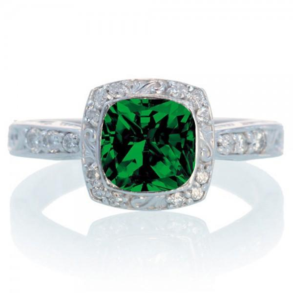 1.5 Carat Round Vintage Emerald and Diamond Halo Wedding Ring
