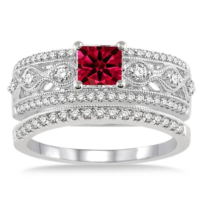 1.5 Carat Ruby & Diamond Antique Bridal Set Engagement Ring on 9k White Gold