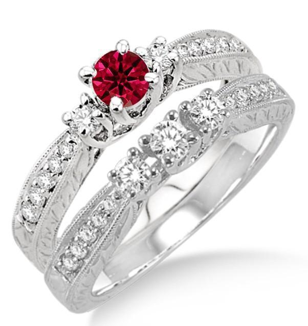 1.5 Carat Ruby & Diamond Antique Bridal set on 9k White Gold