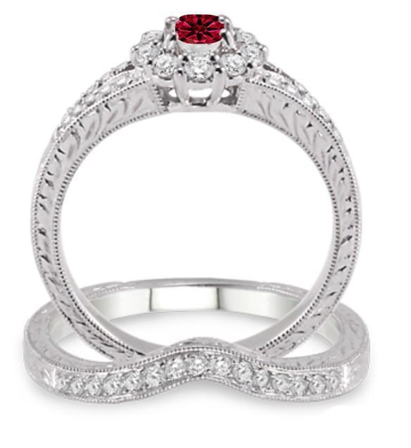 1.5 Carat Ruby & Diamond Antique Floral Bridal set on 9k White Gold
