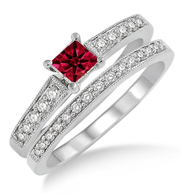 1.5 Carat Ruby & Diamond Antique Flower Bridal Set on 9k White Gold