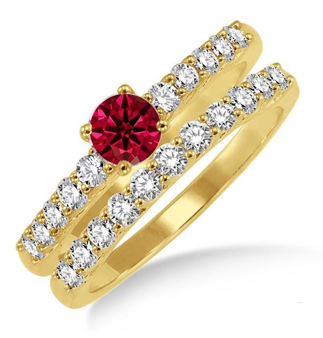 1.5 Carat Ruby & Diamond Elegant Bridal Set on Yellow Gold
