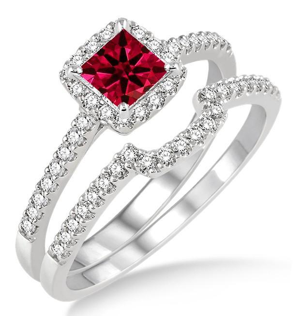 1.5 Carat Ruby & Diamond Halo Bridal Set on White Gold