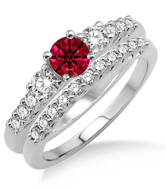 1.5 Carat Ruby & Diamond Trilogy Bridal set on 9k White Gold
