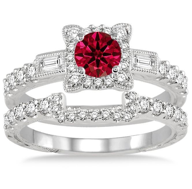 1.5 Carat Ruby & Diamond Vintage floral Bridal Set Engagement Ring on 9k White Gold