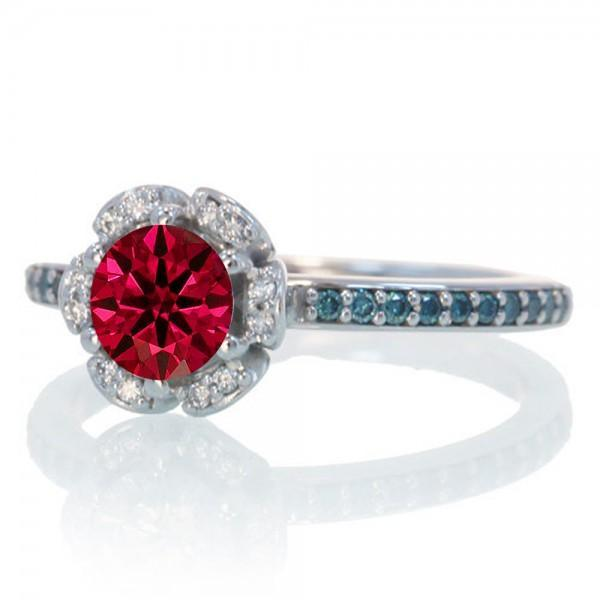 1.5 Carat Unique Flower Halo Round Ruby and Diamond Engagement Ring