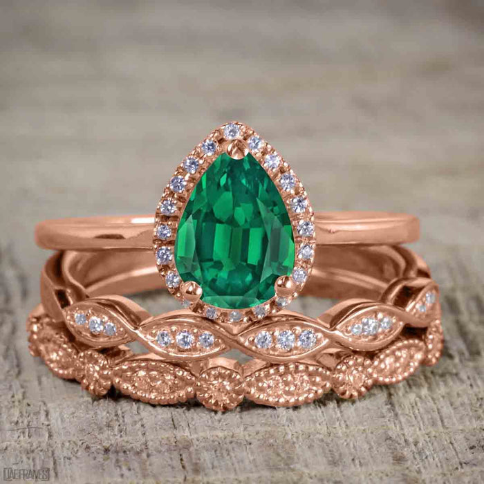 Bestselling 2.50 Carat Pear cut Emerald and Diamond Halo Trio Wedding Bridal Ring Set in Rose Gold