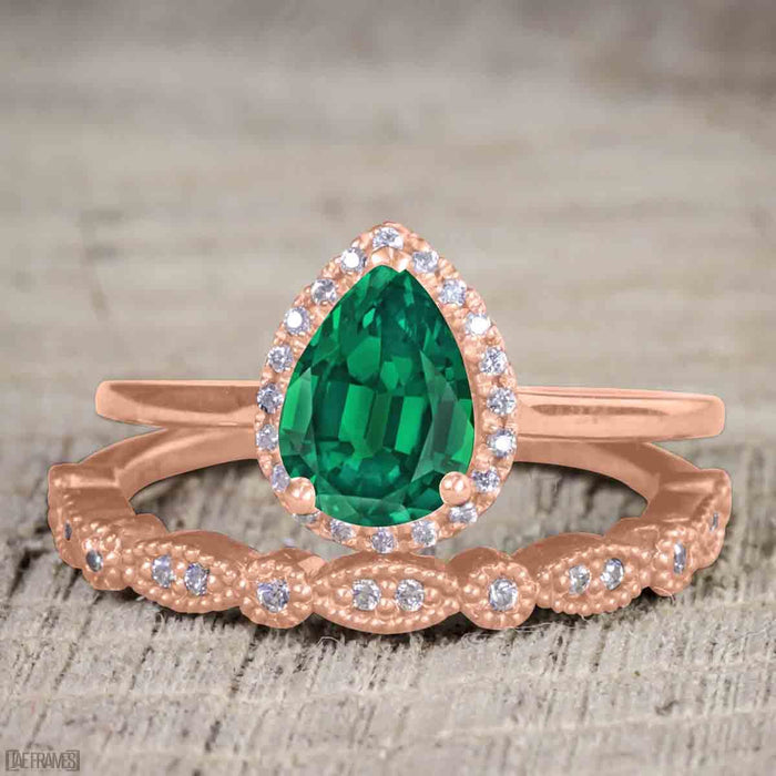 Antique Vintage 2 Carat Pear cut Emerald and Diamond Halo Wedding Ring Set for Women in Rose Gold